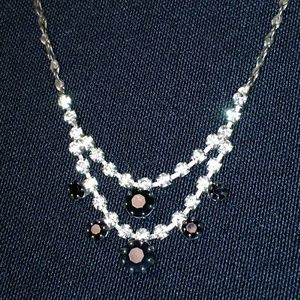 Jewelry - 90s Black & White Rhinestone Necklace Vintage EUC
